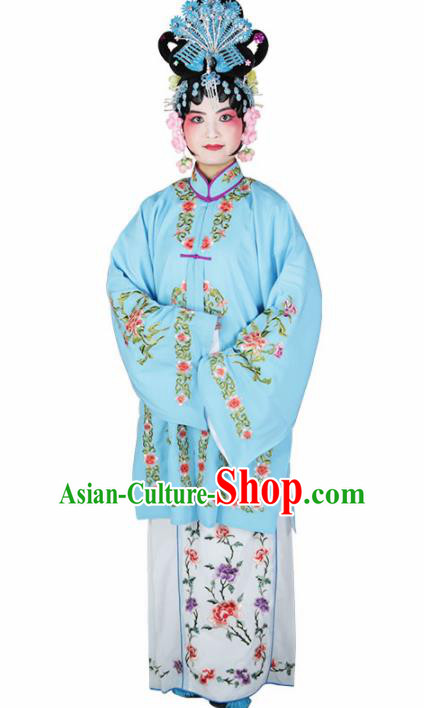 Traditional Chinese Beijing Opera Diva Costume Peking Opera Nobility Lady Blue Dress