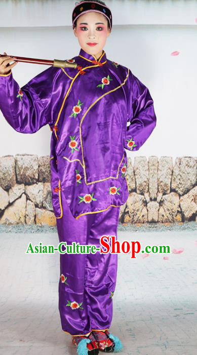 Traditional Chinese Beijing Opera Old Women Costume Peking Opera Woman Matchmaker Purple Clothing