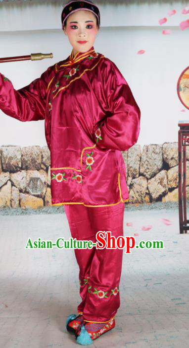 Traditional Chinese Beijing Opera Old Women Costume Peking Opera Woman Matchmaker Red Clothing