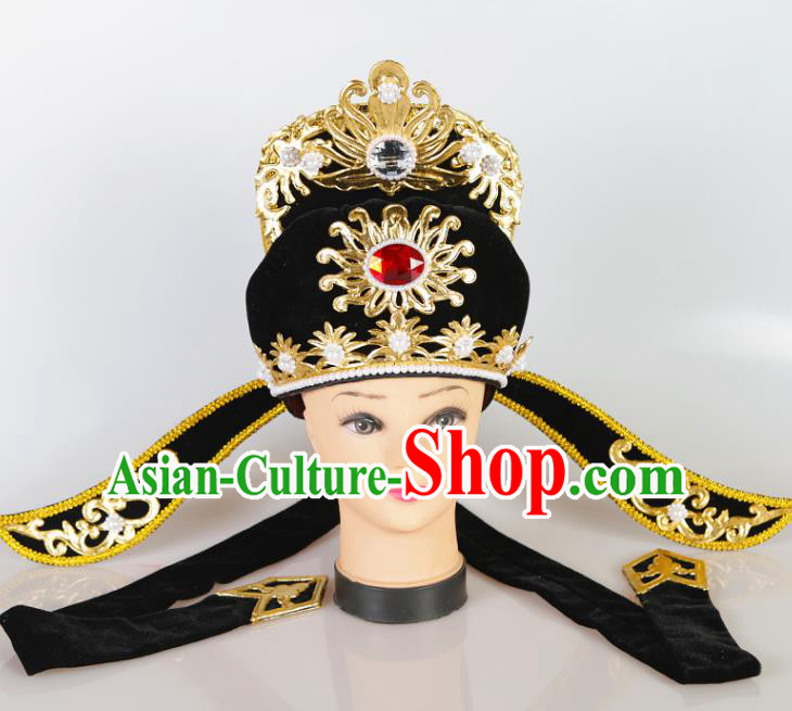 Asian Chinese Beijing Opera Niche Scholar Headwear Traditional Peking Opera Young Men Hat