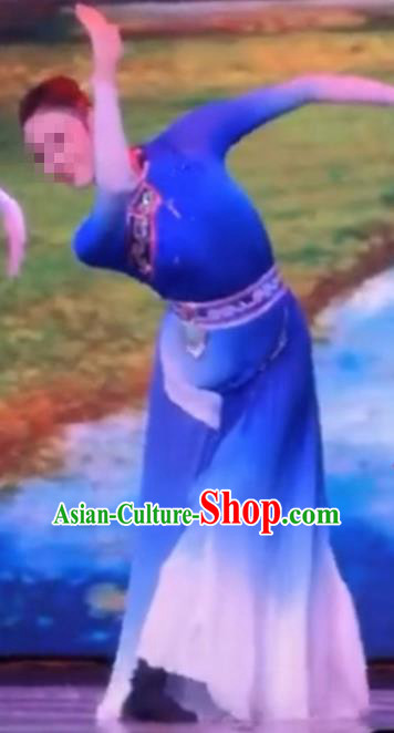Traditional Chinese Mongol Nationality Dance Costume Mongols Female Folk Dance Ethnic Dress for Women