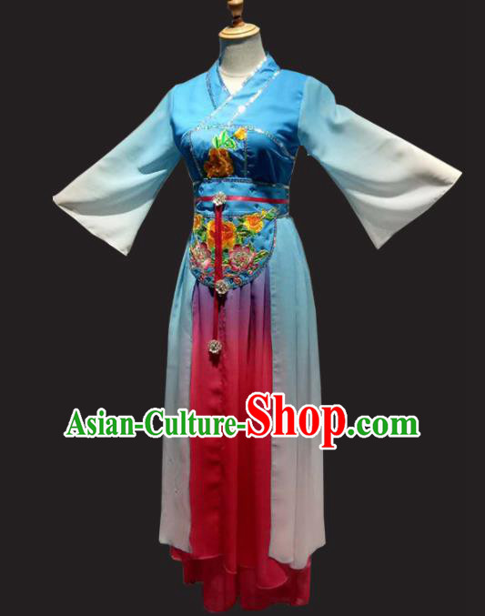 Traditional Chinese Classical Dance Costume Folk Dance Blue Dress for Women