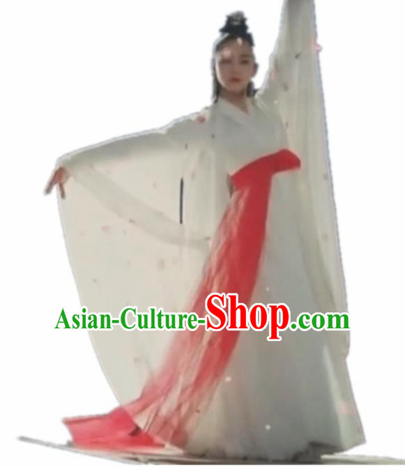 Traditional Chinese Classical Dance Costume China Ancient Peri Dance White Dress for Women