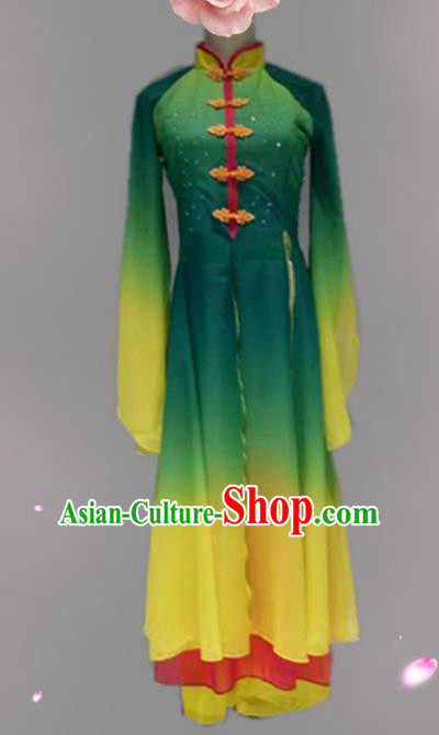 Traditional Chinese Classical Dance Costume China Umbrella Dance Green Dress for Women