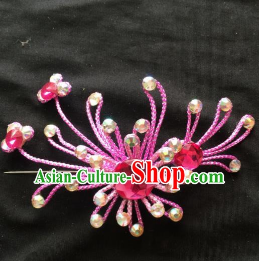 Asian Chinese Beijing Opera Jewelry Accessories Stage Performance Rosy Brooch for Women