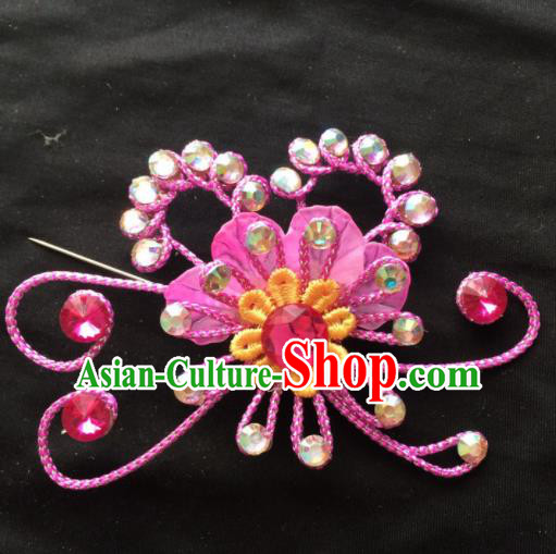 Asian Chinese Beijing Opera Jewelry Accessories Stage Performance Pink Flower Brooch for Women