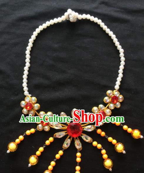 Asian Chinese Beijing Opera Jewelry Accessories Pearls Yellow Flower Necklace for Women