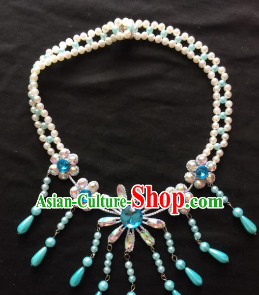 Asian Chinese Beijing Opera Jewelry Accessories Pearls Blue Flower Necklace for Women