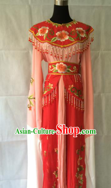 Traditional Chinese Beijing Opera Diva Peri Costume Ancient Princess Red Hanfu Dress for Women
