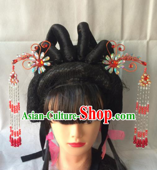 Asian Chinese Beijing Opera Hair Accessories Red Tassel Step Shake Hairpins for Women