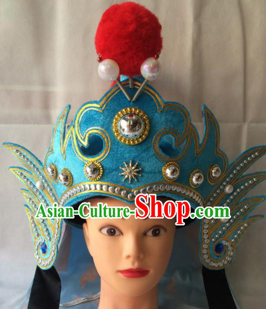 Asian Chinese Beijing Opera Takefu Blue Helmet Ancient General Hat for Men