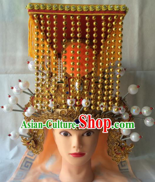 Asian Chinese Beijing Opera Emperor Headwear Ancient Royal Highness Hat for Men