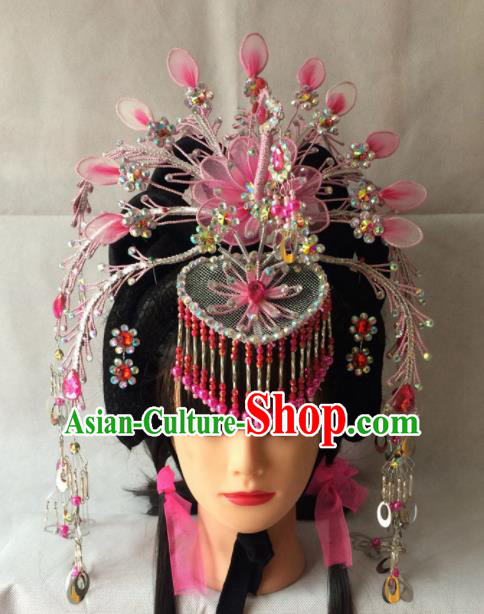 Asian Chinese Beijing Opera Hair Accessories Ancient Princess Pink Phoenix Coronet for Women