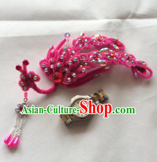 Asian Chinese Beijing Opera Hair Accessories Rosy Phoenix Hair Clip Ancient Princess Hairpins for Women