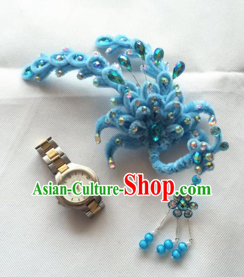 Asian Chinese Beijing Opera Hair Accessories Blue Phoenix Hair Clip Ancient Princess Hairpins for Women