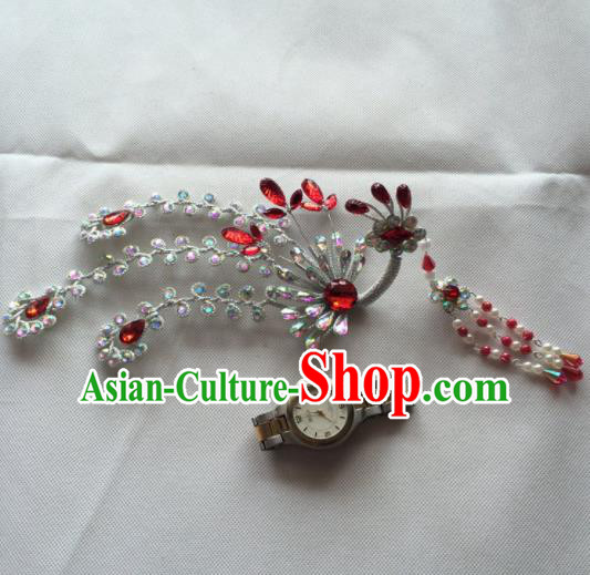 Asian Chinese Beijing Opera Hair Accessories Red Crystal Phoenix Hair Clip Ancient Princess Hairpins for Women