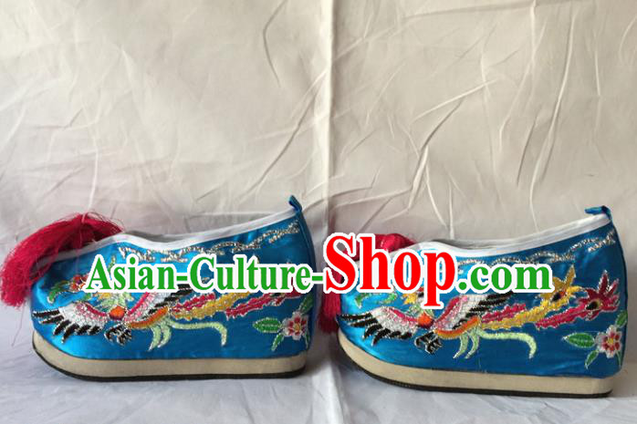 Asian Chinese Beijing Opera Shoes Ancient Princess Shoes Blue Embroidered Shoes for Women