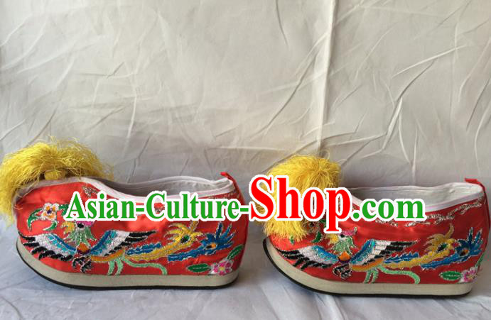 Asian Chinese Beijing Opera Shoes Ancient Princess Shoes Red Embroidered Shoes for Women