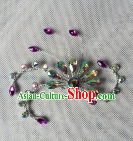 Asian Chinese Beijing Opera Jewelry Accessories Ancient Princess Purple Crystal Brooch for Women