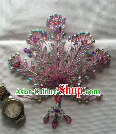 Asian Chinese Beijing Opera Actress Pink Phoenix Hair Accessories Ancient Princess Hairpins for Women