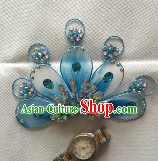 Asian Chinese Beijing Opera Actress Hair Accessories Blue Hair Clip Ancient Princess Hairpins for Women