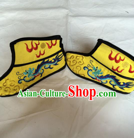 Asian Chinese Beijing Opera Takefu Yellow Embroidered Boots Ancient Swordsman Shoes for Men