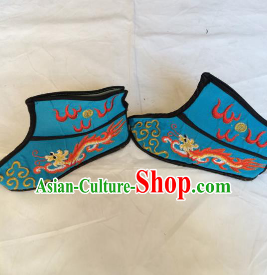 Asian Chinese Beijing Opera Takefu Blue Embroidered Boots Ancient Swordsman Shoes for Men