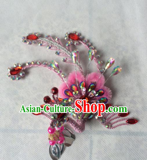 Asian Chinese Beijing Opera Hair Accessories Hair Clip Ancient Princess Pink Phoenix Hairpins for Women