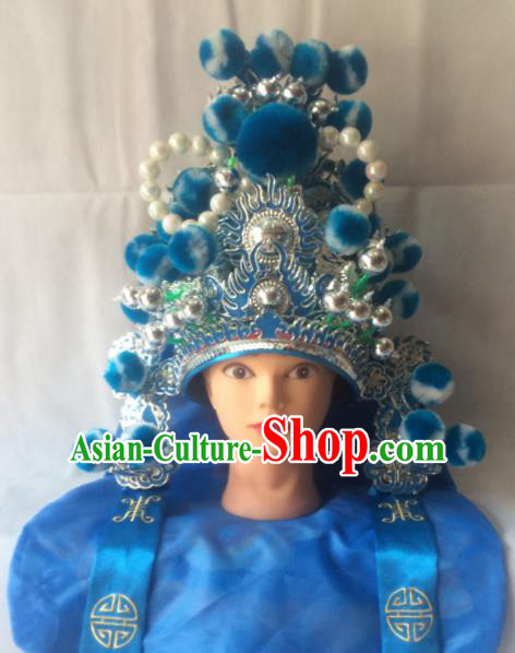 Asian Chinese Traditional Beijing Opera Headwear Ancient General Blue Helmet for Men