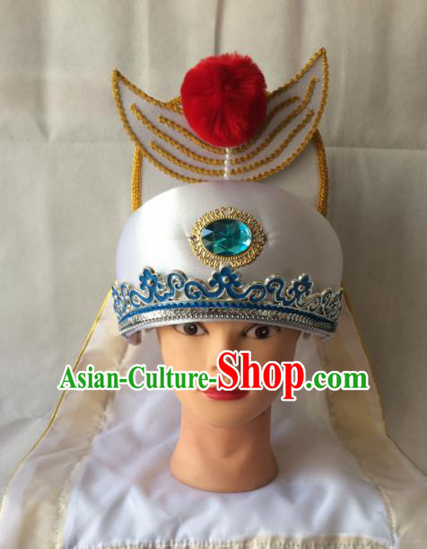 Asian Chinese Traditional Beijing Opera Headwear Ancient Crown Prince White Hat for Men