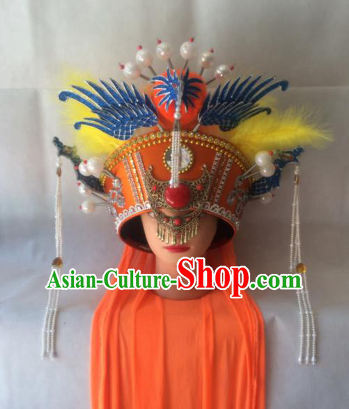 Asian Chinese Beijing Opera Hair Accessories Ancient Empress Dowager Phoenix Coronet Hat for Women