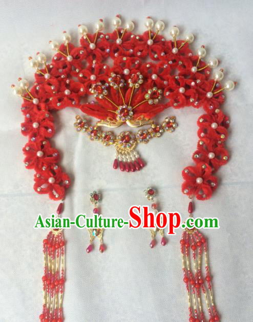 Asian Chinese Beijing Opera Hair Accessories Ancient Princess Red Hairpins for Women