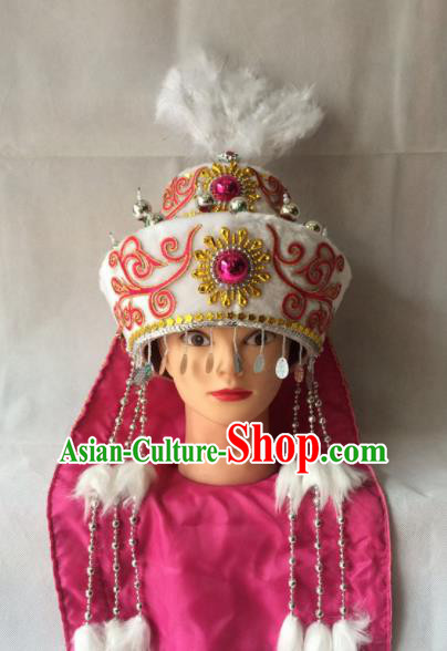 Asian Chinese Beijing Opera Hair Accessories Ancient Ethnic Princess Hat for Women