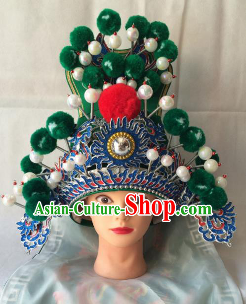 Asian Chinese Traditional Beijing Opera Headwear Ancient General Green Helmet for Men