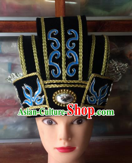 Asian Chinese Traditional Beijing Opera Headwear Ancient Minister Black Hat for Men