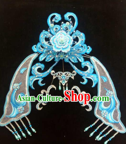 Asian Chinese Beijing Opera Hair Accessories Ancient Queen Blue Hair Coronet Hairpins for Women