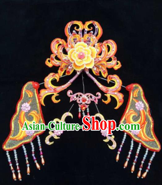 Asian Chinese Beijing Opera Hair Accessories Ancient Queen Orange Hair Coronet Hairpins for Women