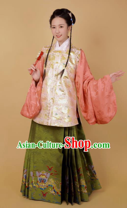 Traditional Chinese Ming Dynasty Palace Princess Historical Costume Ancient Female Blouse and Horse Face Skirt Complete Set
