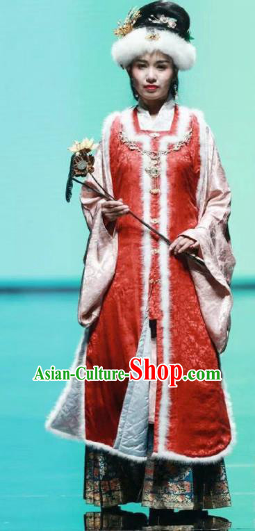 Traditional Chinese Ancient Ming Dynasty Young Mistress Winter Historical Costume Complete Set
