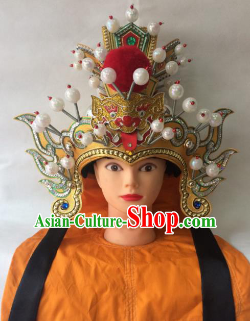 Asian Chinese Traditional Beijing Opera Royal Highness Headwear Ancient General Golden Helmet Hat for Men