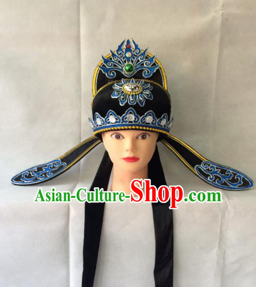 Asian Chinese Traditional Beijing Opera Niche Headwear Ancient Nobility Childe Black Hat for Men