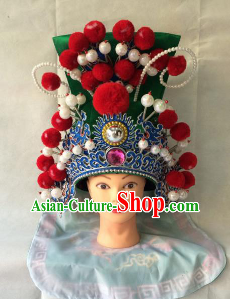 Asian Chinese Traditional Beijing Opera Helmet Headwear Ancient General Green Hat for Men