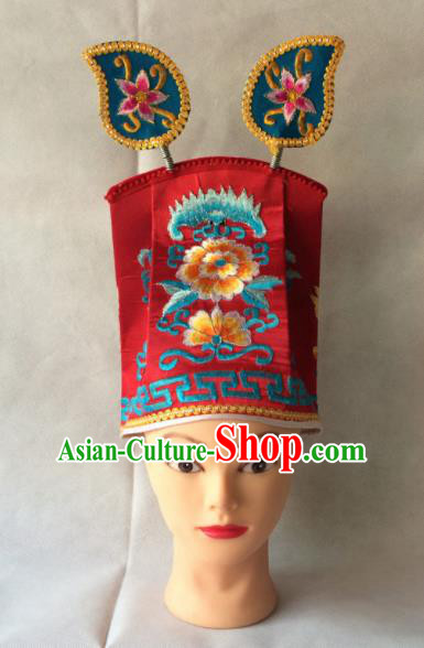 Asian Chinese Traditional Beijing Opera Headwear Ancient Taoist Priest Red Hat for Men
