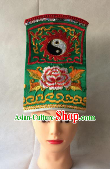 Asian Chinese Traditional Beijing Opera Headwear Ancient Taoist Priest Green Hat for Men