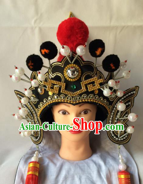 Asian Chinese Traditional Beijing Opera Takefu Headwear Ancient Warrior Black Helmet Hat for Men