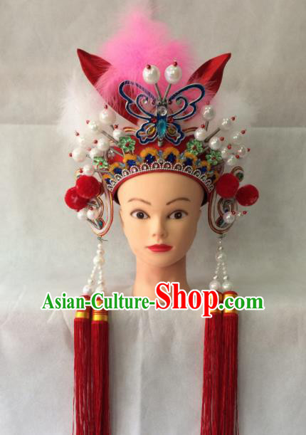 Asian Chinese Beijing Opera Hair Accessories Ancient Female Warrior Red Hat Helmet for Women