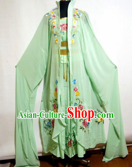 Traditional Chinese Beijing Opera Actress Costume Ancient Peri Princess Green Dress for Women