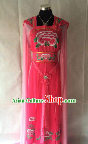 Traditional Chinese Beijing Opera Young Lady Costume Ancient Peri Court Miad Rosy Dress for Women