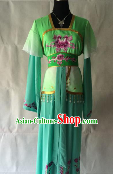 Traditional Chinese Beijing Opera Court Maid Costume Ancient Maidservants Green Dress for Women