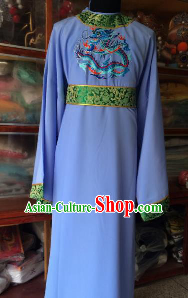 Traditional Chinese Beijing Opera Costume Peking Opera Eunuch Blue Robe